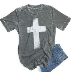 Cross Tee in gray large Christian Clothing, Christian Shirts, Cool Outfits, Summer Outfits, Casual Outfits, Beautiful Outfits, Girly Outfits, Casual Wear, Winter Outfits
