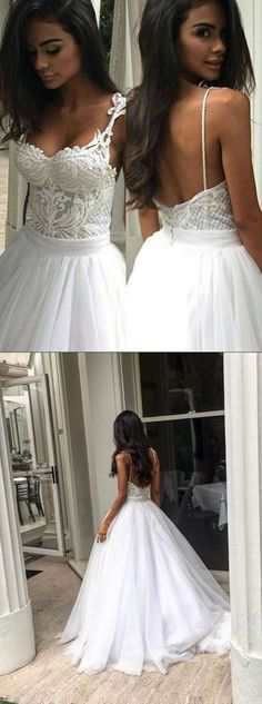 Elegant Sweep Train Backless Wedding Dress with Lace Top Spaghetti Straps,MB 7