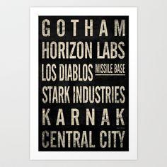 Superhero Themed Vintage Subway Signs (v.1) Art Print by Impale Design - $17.68