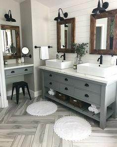 Modern Farmhouse Master Bath Renovation - Obsessed with our vanity spaces! : Modern Farmhouse Master Bath Renovation - Obsessed with our vanity spaces! Bathroom Spa, Grey Bathrooms, Bathroom Interior, Bathroom Ideas, Bathroom Organization, Master Bathrooms, Bathroom Storage, Bathroom Inspiration, Bathroom Mirrors
