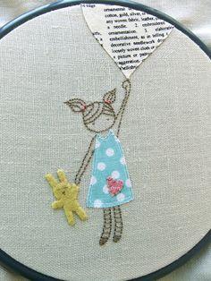 Girl and balloon - Hoop Art