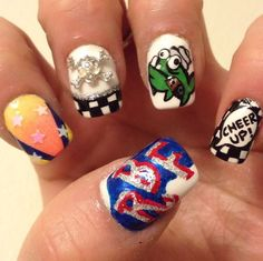 One of my very absolute favorite bands is Reel Big Fish. When I went to one of their concerts, I had to go all out of the nails to match. The fish is one of their logos, and everything is a part of...