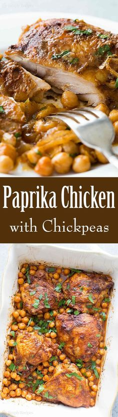 One pot easy baked chicken thighs with smoked paprika, onions, and chickpeas! You'll love how easily this dish comes together. So good! On SimplyRecipes.com