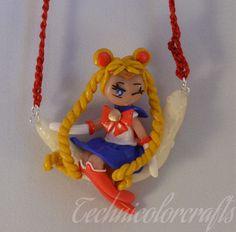 Sailor Moon (Sailor Moon)on sitting Glow in the Dark Moon Necklace