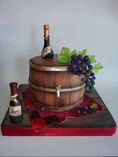 Wine bars and grape by Milica - Nat cake Wine Theme Cakes, Themed Cakes, Fondant Cakes, Cupcake Cakes, Wine Bottle Cake, Cake Design For Men, Barrel Cake, Whiskey Cake, Alcohol Cake