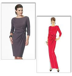 Misses' Dress, Butterick 5675, Tucked dress front extends to form decorative element.  Easy. ponteknits or jersey