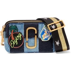 Marc Jacobs Snapshot leather-trimmed patchwork denim shoulder bag