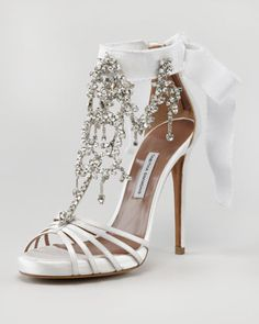 Chandelier Crystal Sandal by Tabitha Simmons at Neiman Marcus... (These heels are a little high and I don't really like open toes, but these are SOOO pretty!)