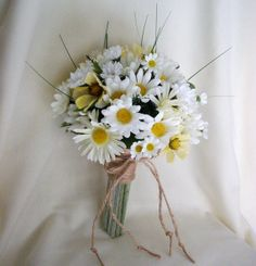 Daisy Bouquet Twine Wrap Hippie Bridal silk Wedding Flowers accessories faux daisy country Bridesmaid bokay barn weddings