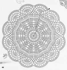 Lair knitting and motives of crochet tableclothDoily pattern (no photo of finished doily)Discover thousands of images about The Snorka crochet doily rug pattern is designed for crocheting with t-shirt yarn. Free Crochet Doily Patterns, Crochet Doily Rug, Crochet Doily Diagram, Crochet Pillow Pattern, Crochet Circles, Crochet Chart, Thread Crochet, Stitch Patterns, Free Pattern