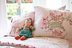 strawberry pink pagoda bedding. so much great detail!