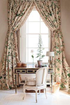 curtains, desk, tole flowers