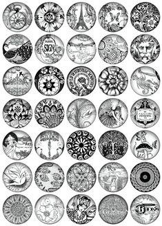 1 Zoll schwarz & weiße Grafik Kreisen. Digitaler download