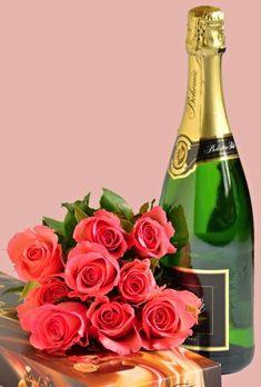 Klikněte pro zobrazení původního (velkého) obrázku Flower Pictures, Champagne, Bottle, Flowers, Happy Birthday, Anniversary Flowers, Happy Brithday, Flower Photos, Flask
