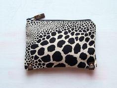 ivory black animal makeup bag