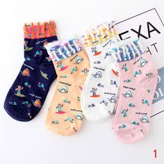 ff6370f90dea 4 Pairs Spring Cartoon Beach By The Sea Jacquard Fish Lace Colorful Socks  Women   Shopee