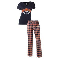 Denver Broncos Concepts Sport Women's Medalist Pant & T-Shirt Pajama Set - Orange