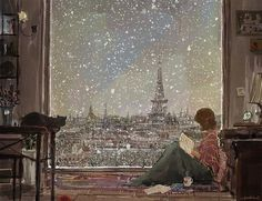 Imagen de paris, book, and snow