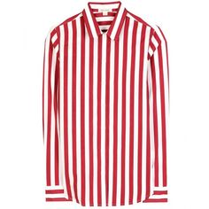 Marc Jacobs Striped Cotton Button-Down Shirt (45.935 RUB) ❤ liked on Polyvore featuring tops, blouses, shirts, marc jacobs, camisas, red, button down blouse, striped blouse, patterned shirts and button down shirts