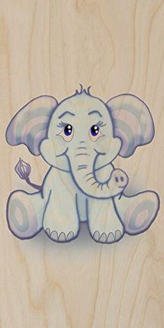 'Cute Lil Elephant' Funny Cute Animal Cartoon - Plywood Wood Print Poster Wall Art