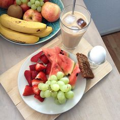 Enjoying this beautiful morning in Aarhus with a softboiled egg, rye bread, fruits and icecoffee.