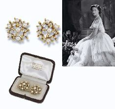 Princess Margaret's Donald CULTURED PEARL & DIAMOND EARCLIPS, cluster of foliate sprigs set with cultured pearls and circular-cut diamonds, 18 carat gold, 1972