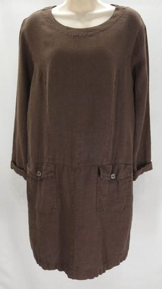 California Threads S Brown Linen Round Neck Long Sleeve Button Knee Length Dress #CaliforniaThreads #WeartoWork