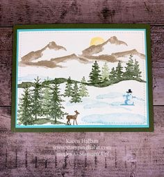 Snow Front, winter scene card idea, Stampin Up, Karen Hallam, stampinup Stampin Up Christmas, Christmas Cards To Make, Xmas Cards, Holiday Cards, Stampinup Christmas Cards, Tarjetas Stampin Up, Winter Szenen, Stampin Up Weihnachten, Winter Karten