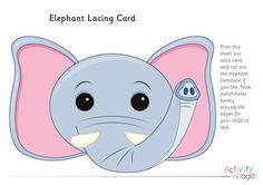 Children all seem to love elephants - and with our printable elephant mask they can enjoy dressing up as one and stomping about! Activity Village, Lacing Cards, Printable Masks, Animal Masks, Chinese Zodiac, Cool Pets, Just For Fun, Toddler Activities, Farm Animals