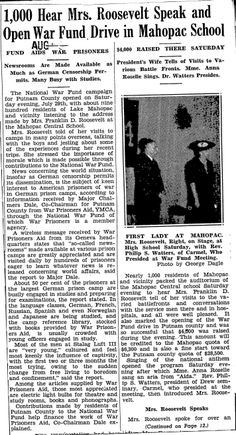 Eleanor Roosevelt spoke at the Mahopac Central School (now Lakeview Elementary) in July, 1945 - Putnam County Courier Presidents Wives, Putnam County, School Opening, Eleanor Roosevelt, Local History, Lake View, Historian, Author, Eyes
