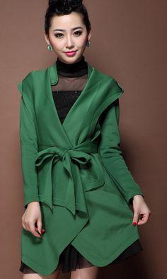 Flounced casual hooded waistband windbreaker green