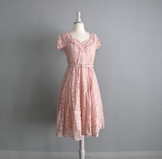 r e s e r v e d .............1940s vintage PINK LACE party dress. $108.00, via Etsy.    Absolutely adorable