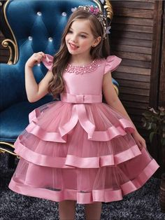 Girls Tiered Ruffle Princess Holiday Dress with Embellished Collar African Dresses For Kids, Dresses Kids Girl, Kids Outfits, Baby Dresses, Girls Dresses Sewing, Cute Little Girl Dresses, Baby Frocks Designs, Kids Frocks Design, Flower Girls