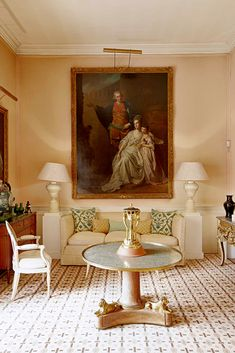 The Drawing Room at The Grove, home of the late David Hicks where his wife Lady Pamela still resides. Image via Cote De Texas. Decor, Country Style Decor, Traditional Interior, Beautiful Interiors, Home Decor, House Interior, Home Interior Design, Interior Design, Elegant Interiors