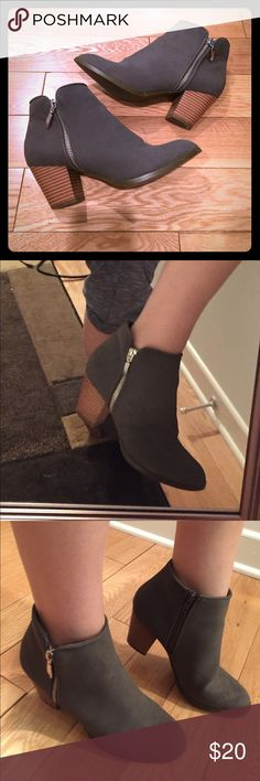 """Style & Co Ankle Booties Grey 2.5"""" heeled booties with zip closure on the inside. There are outer zippers for the look but they do not function. Very comfortable and barely worn so they are in great condition! Style & Co Shoes Ankle Boots & Booties"""