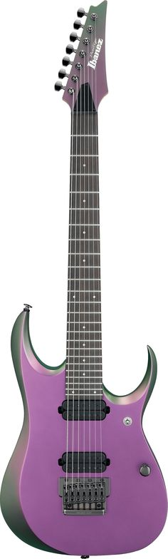 Seven String Ibanez guitar RGD2127FX-VCF in Violet Chameleon.  Changes between purple blue and green depending on the angle you look at it.