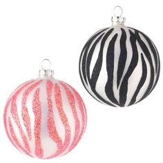 RAZ Zebra Print Christmas Ornament Set of 2            2 Assorted, set includes one of each style             Pink and Black             Made