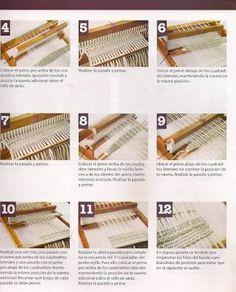 Resultado de imagen para telar maria puntos Tapestry Weaving, Loom Weaving, Tapestry Wall Hanging, Hand Weaving, Ideas Paso A Paso, Weaving Projects, Weaving Patterns, Crochet Scarves, Rug Hooking