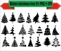 Christmas Tree Winter Party Hollyday Silhouette Vector Clipart PNG EPS Set Digital Files Scrapbook Supplies Clip Art Instant Download by VectorArtShop on Etsy
