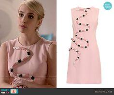 Chanel's pink snake dress on Scream Queens.  Outfit Details: http://wornontv.net/53784/ #ScreamQueens