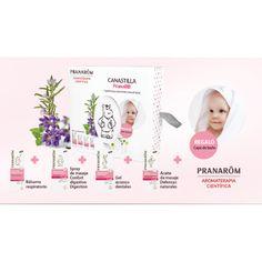 Canastilla #Pranarom con productos de aromaterapia para el #bebe