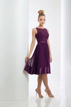 A-Linie Bateau Ausschnitt Chiffon trendiges wadenlanges Brautjungfernkleid