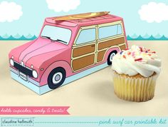 Pink Retro Woody Surf Car printable cupcake box kit comes with THREE removable cupcake trays - one for 2 standard size cupcakes, another for 1 standard size cupcake and one for 3 mini cupcakes!