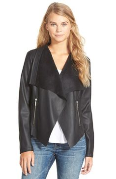 Collection B Collection B Faux Leather Drape Front Jacket available at #Nordstrom
