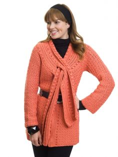 Scarf-Tied Jacket   Yarn   Free Knitting Patterns   Crochet Patterns   Yarnspirations