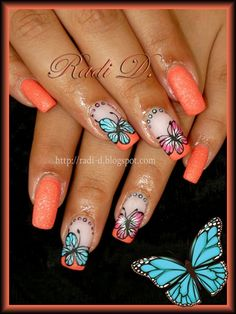 Blue and Pink Butterflies by RadiD - Nail Art Gallery… Sexy Nails, Hot Nails, Fancy Nails, Hair And Nails, Beautiful Nail Art, Gorgeous Nails, Pretty Nails, Pretty Nail Designs, Nail Art Designs
