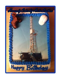 Drilling Rig Photo Cake with 3D Boots and Hard Hat