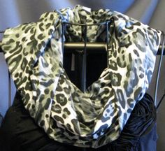 SALE black gray white Leopard Print slinky by ScarfLadyDesigns, $9.99