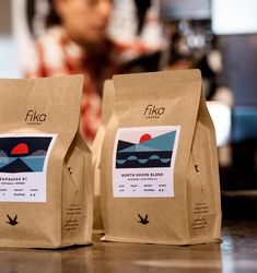 packaging Fika Coffee — Leslie Olson Your One Year-Old's Development The first birthday is always ex Craft Packaging, Paper Packaging, Coffee Packaging, Packaging Design, Coffee Labels, Candle Packaging, Web Design, Label Design, Food Design