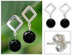 Onyx chandelier earrings, 'Sao Paulo Night' - Unique Modern Sterling Silver and Onyx Earrings